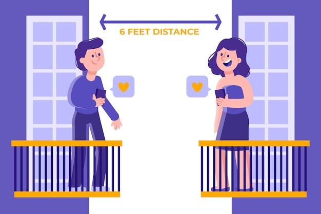 Concepto de distanciamiento social para estilo de ilustración