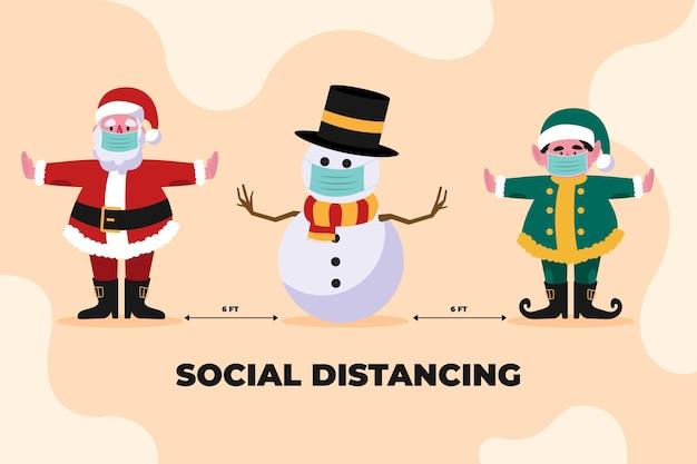 Concepto de distanciamiento social entre un grupo de personajes navideños