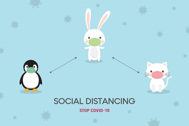 Concepto de distanciamiento social. ilustración de prevención de coronavirus (covid-19). lindo oso, oso polar y fox personaje con máscara médica. detener el coronavirus.