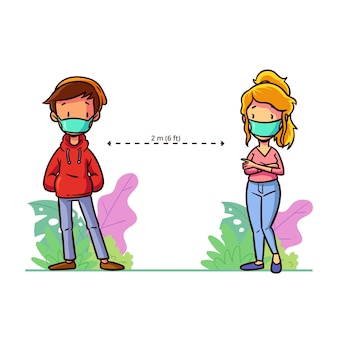 Concepto de distanciamiento social para ilustrado