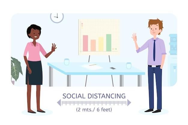 Concepto de distanciamiento social una obra