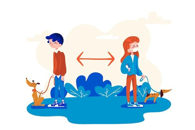 Concepto de distanciamiento social pasear al perro