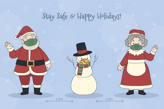 Concepto de distanciamiento social con personajes navideños
