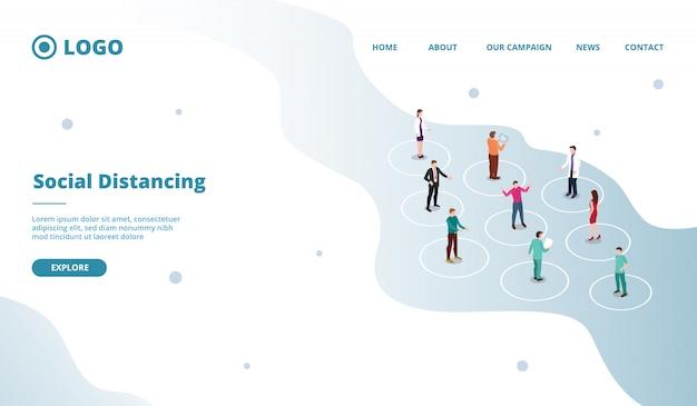 Concepto de distanciamiento social para personas a una distancia segura en multitud para plantilla de sitio web o sitio de inicio