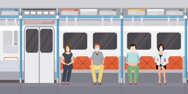 Concepto de distanciamiento social con personas con máscaras médicas en metro.