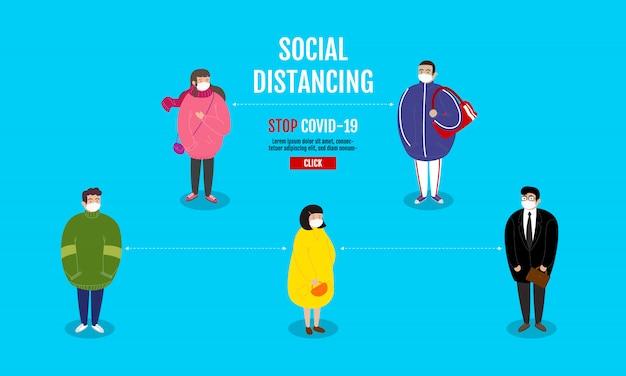Concepto de distanciamiento social, personas que se mantienen alejadas del riesgo de infección y enfermedad, usando una máscara médica quirúrgica protectora para prevenir el virus covid-19 (coronavirus). personaje animado.