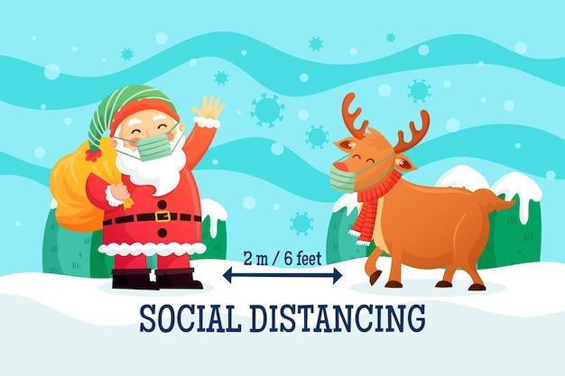 Concepto de distanciamiento social con renos y santa claus