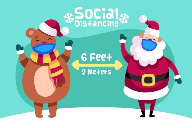 Concepto de distanciamiento social con santa y oso