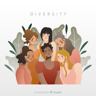 Concepto de diversidad de fondo de estilo plano