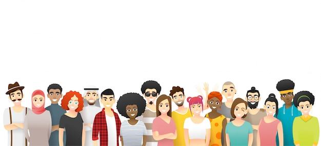 Concepto de diversidad, grupo de personas multiétnicas felices de pie juntos