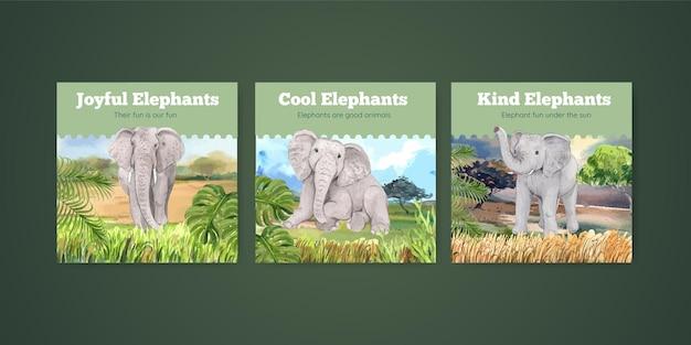 Concepto de diversión de elefante, ilustración de estilo acuarela