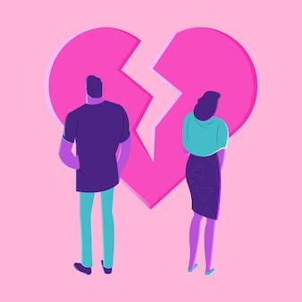 Concepto de divorcio con corazón roto