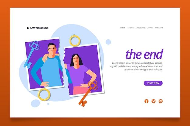 Concepto de divorcio estilo de página de inicio