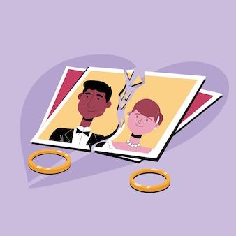 Concepto de divorcio con fotos y anillos de boda.