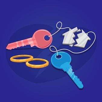Concepto de divorcio con llaves y anillos de boda