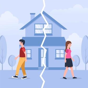 Concepto de divorcio con pareja