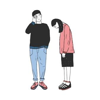 Concepto de divorcio, ruptura en las relaciones, división familiar. triste chica y chico después de partir. colorida ilustración dibujada a mano.