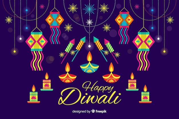 Concepto de diwali con fondo de diseño plano