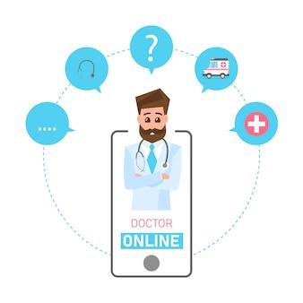 Concepto de doctor en línea. consulta médica en línea y soporte. servicios de atención médica