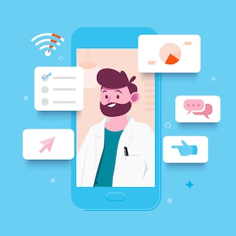 Concepto de doctor en línea en diseño plano