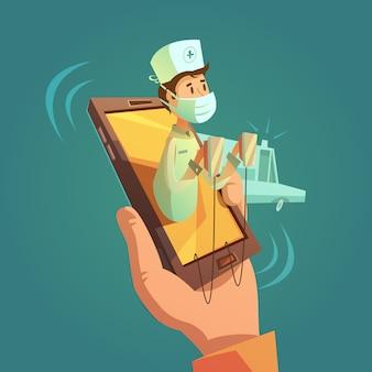 Concepto de doctor en línea móvil