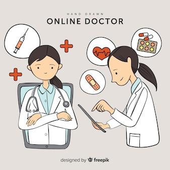 Concepto de doctor online dibujado a mano