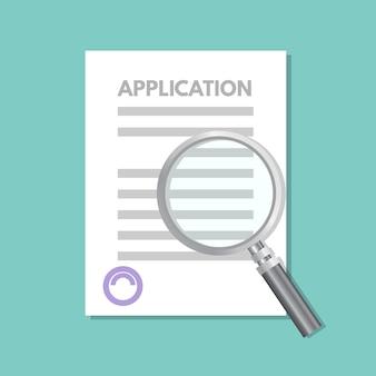 Concepto de documento de formulario de solicitud de préstamo.