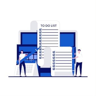 Concepto de documento de gran tarea con carácter. gente de negocios de pie en una larga lista de tareas pendientes.