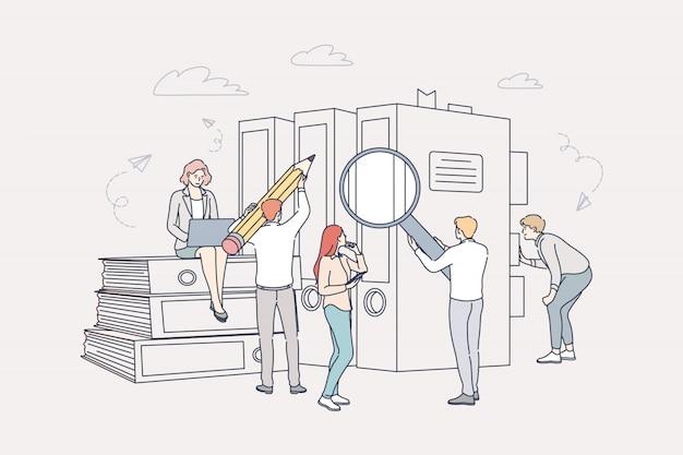 Concepto de documento, negocios, contabilidad, búsqueda, trabajo en equipo.