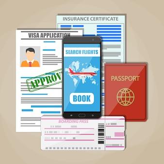 Concepto de documentos de viaje