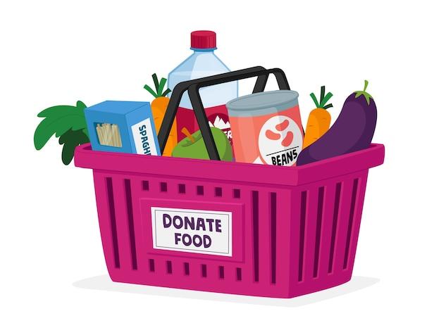 Concepto de donación de alimentos, caridad y ayuda humanitaria