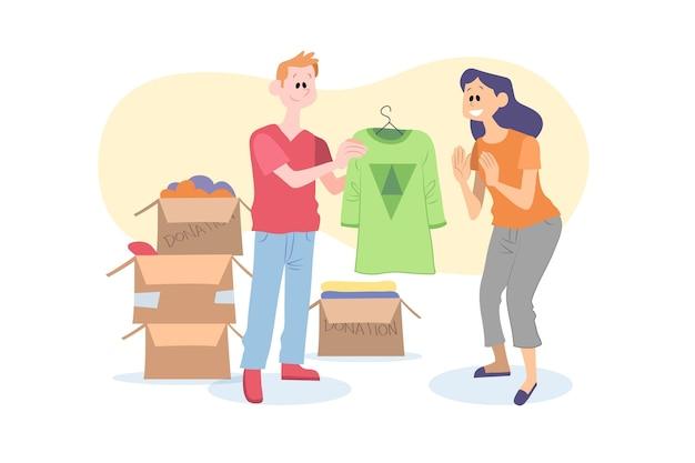 Concepto de donación de ropa dibujada a mano plana