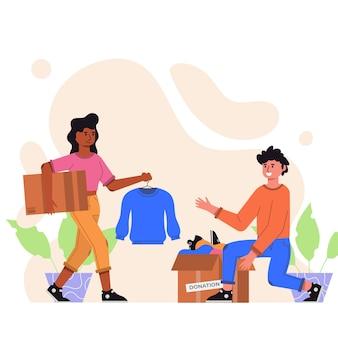 Concepto de donación de ropa dibujada a mano