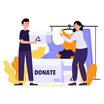 Concepto de donación de ropa dibujada