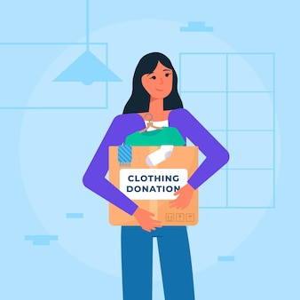 Concepto de donación de ropa de diseño plano