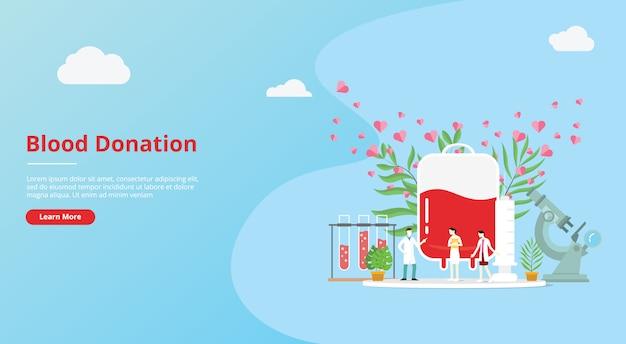 Concepto de donación de sangre para banner de plantilla de sitio web