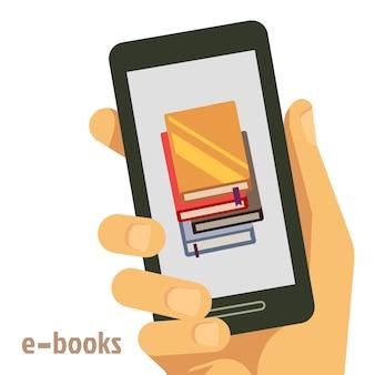 Concepto de e-books planos con smartphone en mano.