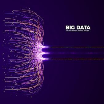 Concepto e innovación de big data. análisis de datos y redes. visualización de tecnología digital. información de procesamiento y flujo de datos de líneas de conexión y puntos.