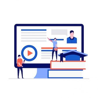Concepto de e-learning con personajes de pie junto a la pantalla de la computadora y libros.