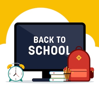 Concepto de e-learning de regreso a la escuela decorativo con varios diseños planos de papelería escolar