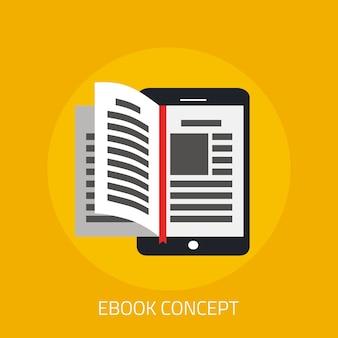 Concepto de ebook con voltear la página del libro