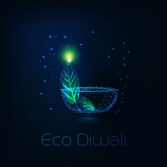 Concepto de eco diwali con lámpara futurista baja poligonal diya y hoja verde sobre azul oscuro.