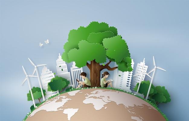 Concepto de eco y medio ambiente.
