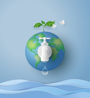 Concepto de eco y mundial del agua.