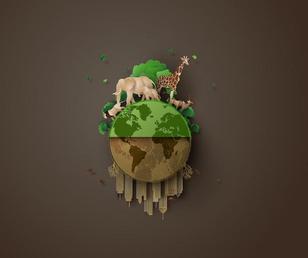 Concepto de ecología y animal.