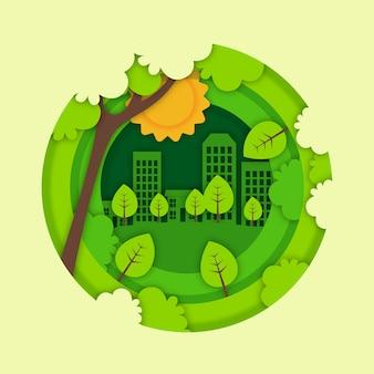Concepto de ecología en concepto de estilo de papel