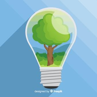 Concepto de ecología dibujado a mano con elementos naturales
