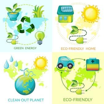 Concepto de ecología de dibujos animados