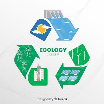Concepto de ecología en diseño plano con elementos naturales