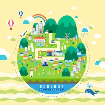 Concepto de ecología, elementos ambientales con ciudad verde.